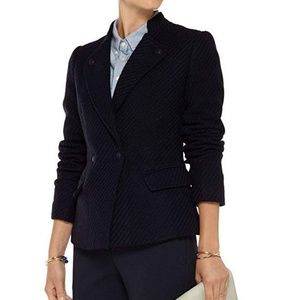 Vince Wool Blend Boucle Navy Military Blazer 4